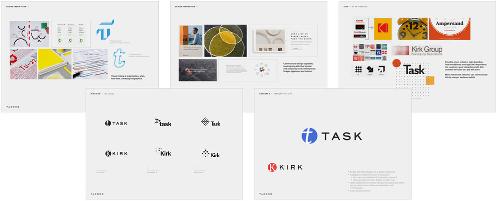 Logo design and Kirk rebrand, chosen concept bottom right.