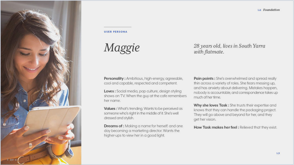 Detailed user persona.  I worked with Angela Doyle (business strategy) and based it on her research data and interviews.