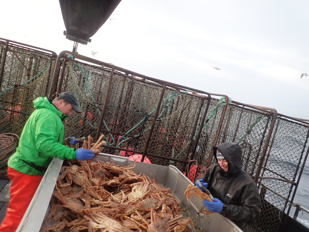 Patrick and Adelia measuring crab with a deck full of pots.