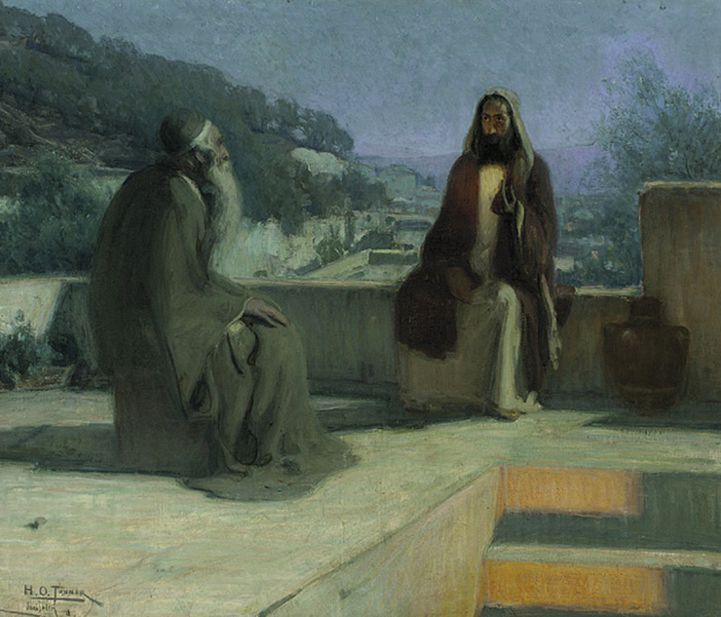 Nicodemus and Jesus on a Rooftop, by Henry Ossawa Tanner
