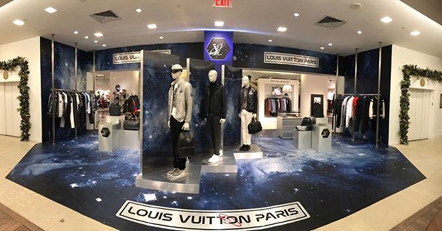 The Louis Vuitton Men's Boutique at Saks Fifth Ave has had a #GalaxyTakeover! Space is the place this holiday season! #louisvuitton #vinyl #fabrication #podiums #logos #installations #takeover#galaxy #visualmarketing #production #brandexperience #space #holidayshopping #SPSWorldwide