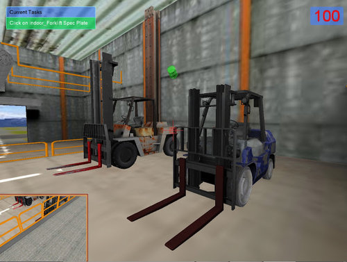 3D Forklift simulated warehouse.