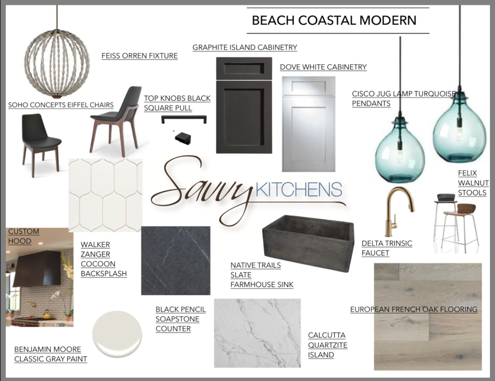 sample kitchen design concept board by savvy kitchens