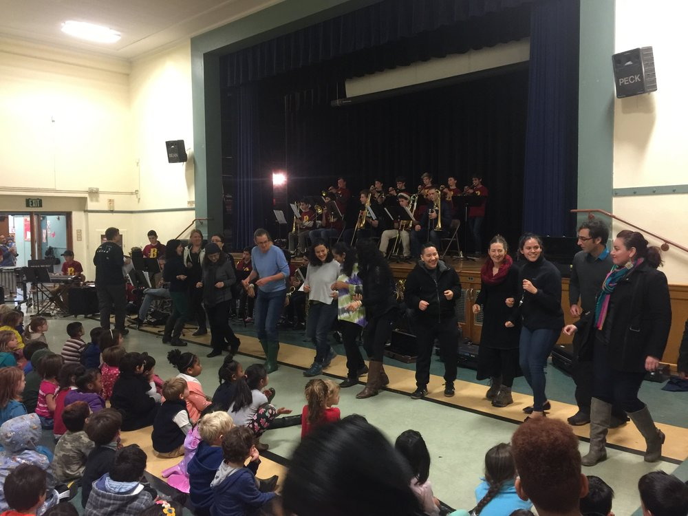 Our LeConte teachers got up to dance the cha-cha when the  Berkeley High School Jazz band came to visit our school.