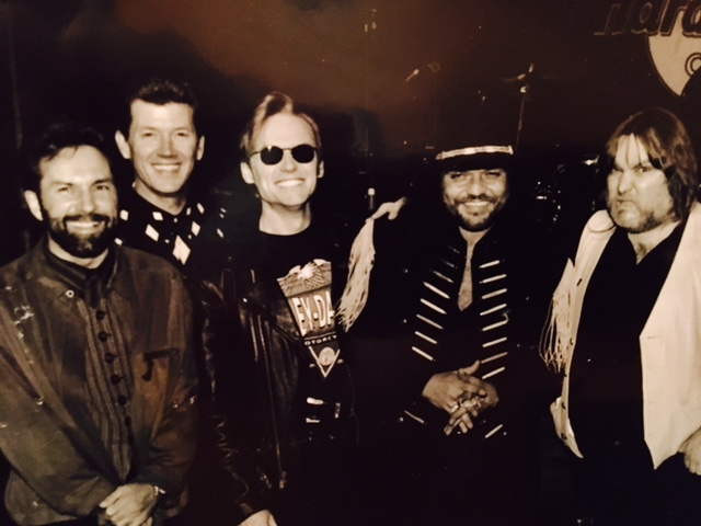 "(L-R) Tony Brown, Larry Willoughby, Terry McBride, Gary Rossington and Ed King from Lynyrd Skynyrd after a TV performance for ""Skynyrd Frynds,"" a tribute to Lynyrd Skynyrd"