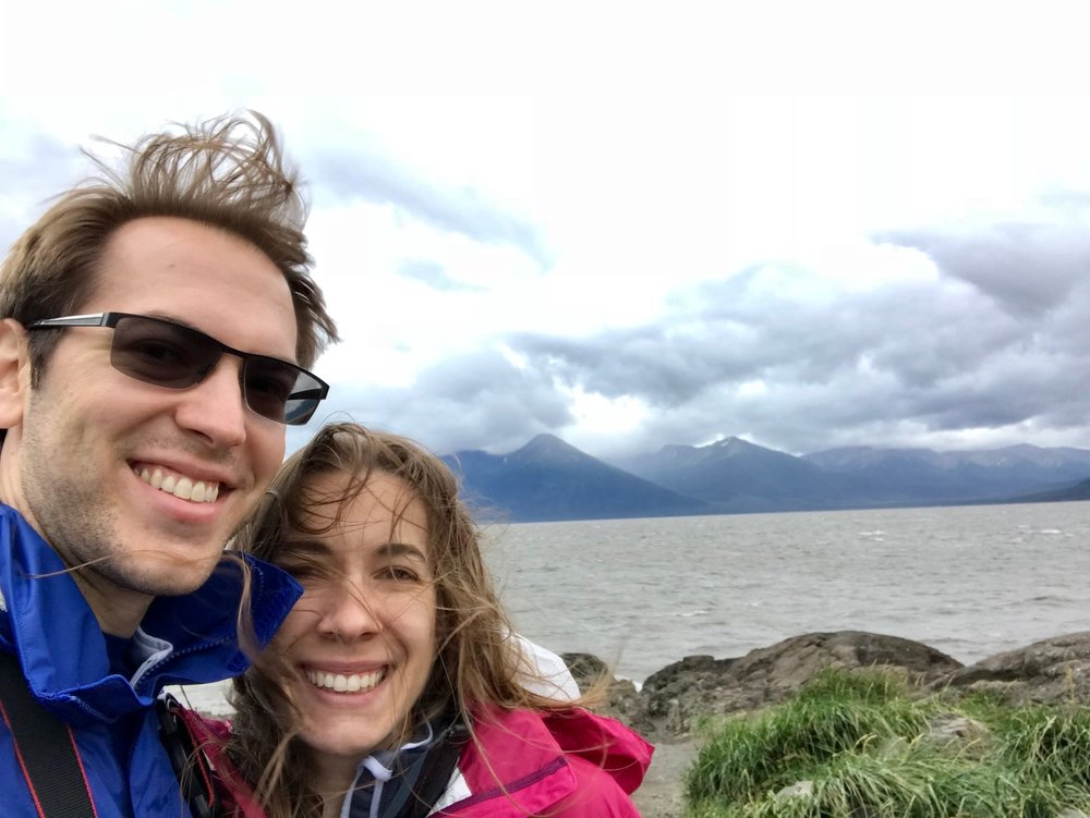 Hiking on a windy day in Alaska with my wife,  Marsha .