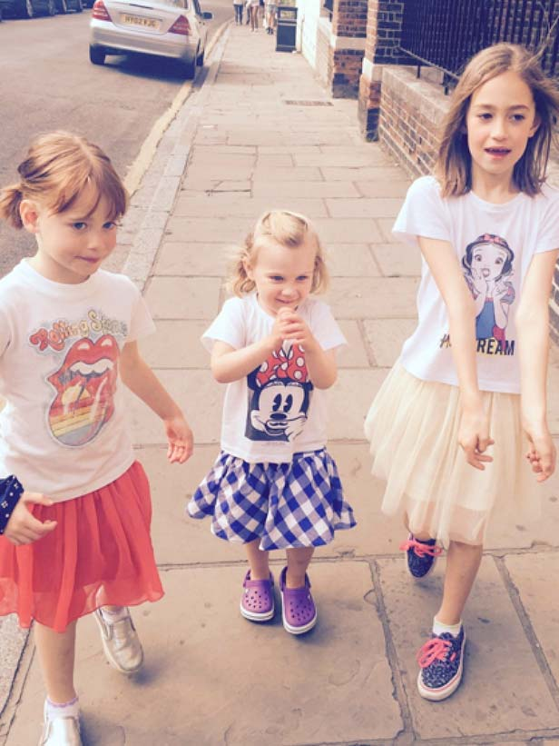 Eva, Ines And Rose    Play date in matching  Eleven Paris  outfits.
