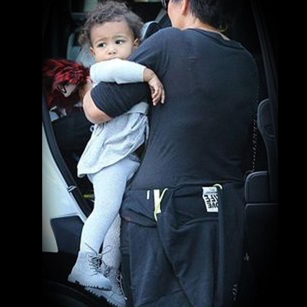 North West Rocking the AKID grey Atticus boots whilst out with Kris Jenner