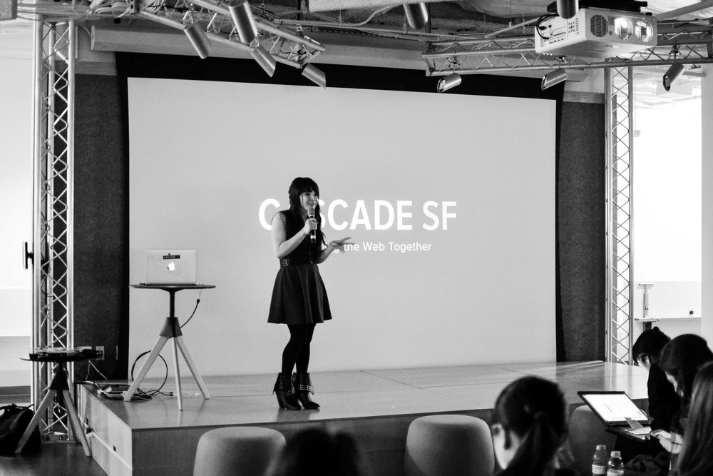 Above is a photo of Andi Galpern introducing a speaker at UXNight at Eventbrite HQ.  Photo by Elina Lin.