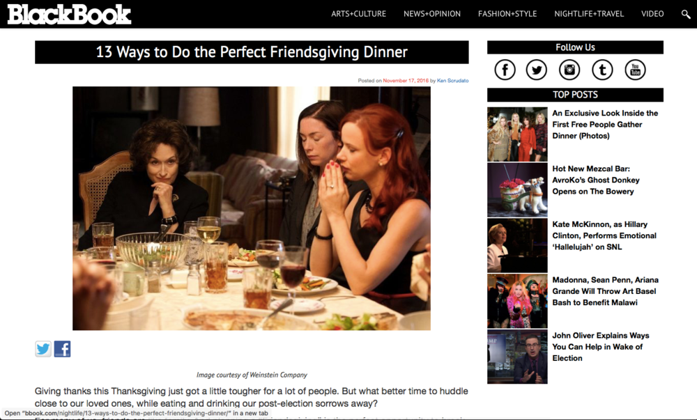 BlackBook - The perfect friendsgiving dinner