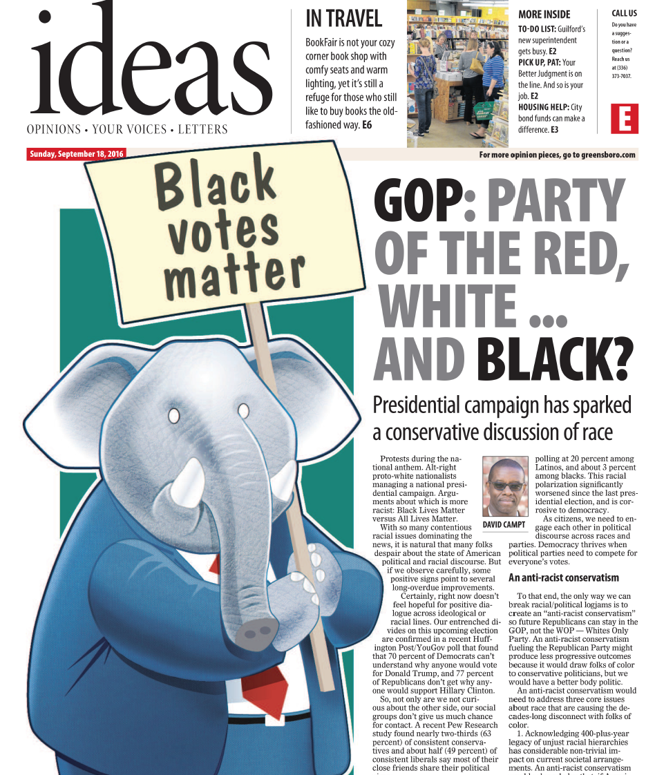 Opinion piece placed on inside cover of Ideas section of Greensboro News and Record.