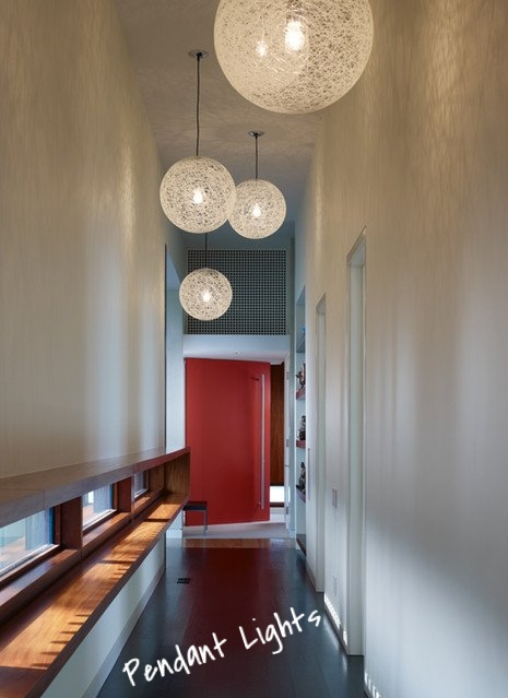 Light fixtures are probably my favorite part of design. They have an amazing ability to add finishing touches to any space and a long hallway is the perfect place to showcase lighting. Whatever your personal style is - funky, dramatic, glamorous, simple - a hallway will let your lighting shine to it's fullest.