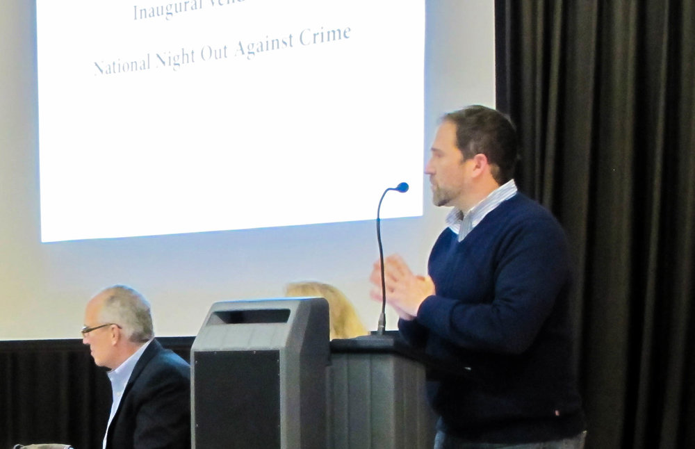 Jim (right) leading the Saybrooke Homeowners Association Annual Meeting in 2016, along side Robert Krebs.