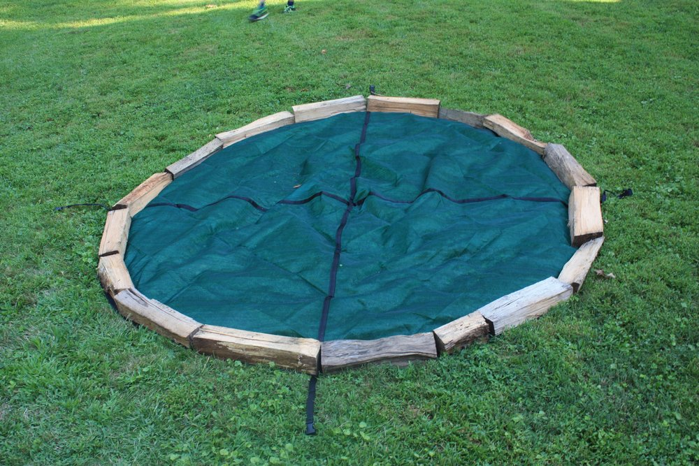 - Shown here using a Cordwood Cover.   Position your logs around the perimeter of the circle.   It's the same if you use a string