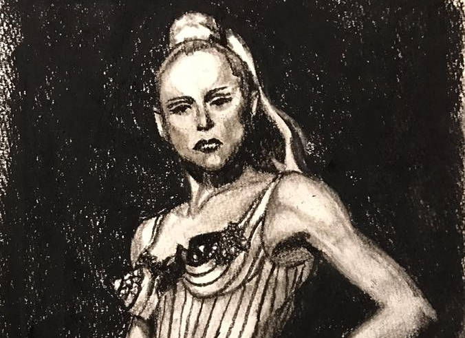 Charcoal sketch of Madonna, by lucy chen