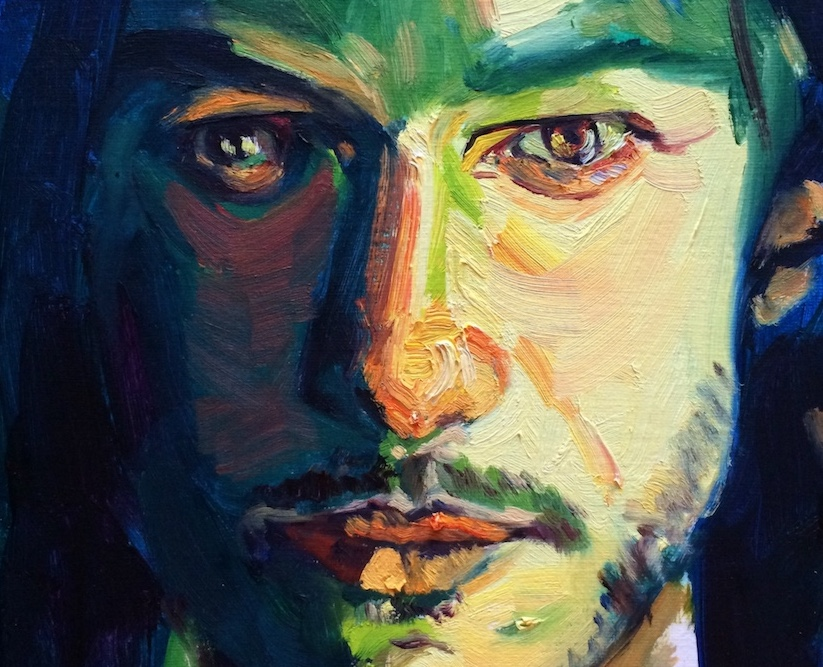 LUKE (detail), oil on canvas paper, by Lucy Chen