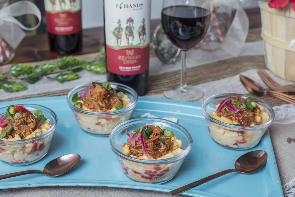 Pair a rich red wine with pimento cheese grits and pulled pork for a great Kentucky Derby Party treat.