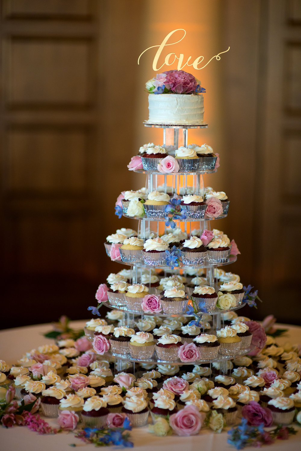Amazing floral cupcake tower wedding cake!