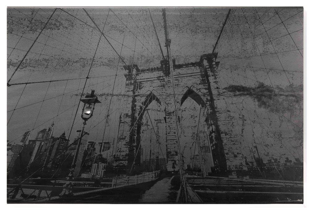 Brooklyn Bridge I  Steel sculpture, Photography, Acid Etching, Laser Cutting  #2, 2017, 24x36 in (61x91 cm)