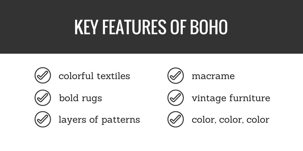 key features of boho (bohemian)