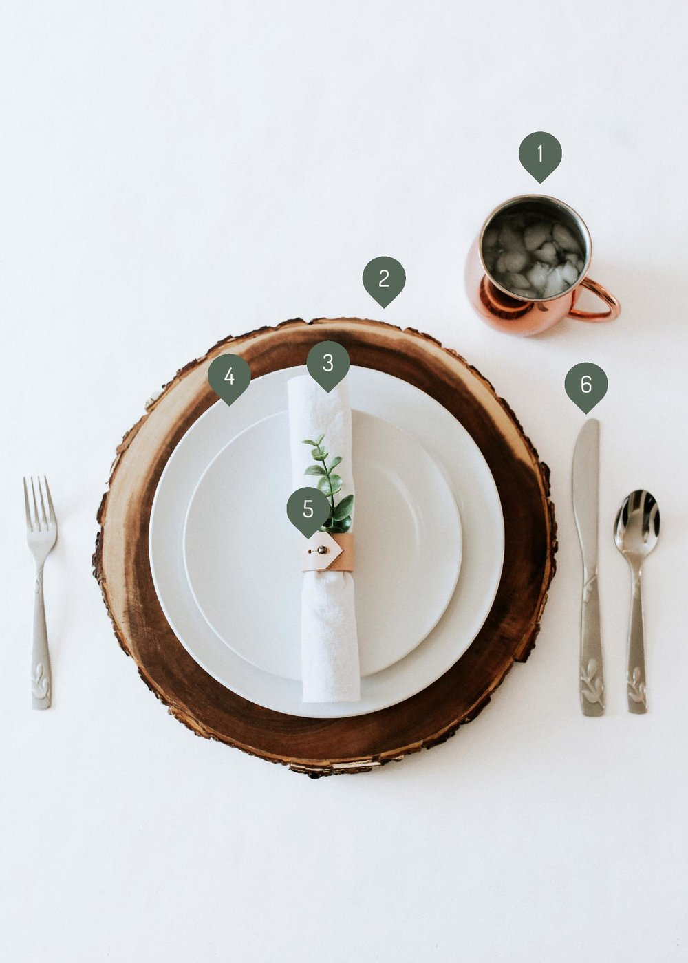 How to create / DIY a natural minimal table setting - wood charger, white plates, white napkin, leather napkin rings, greenery sources and links