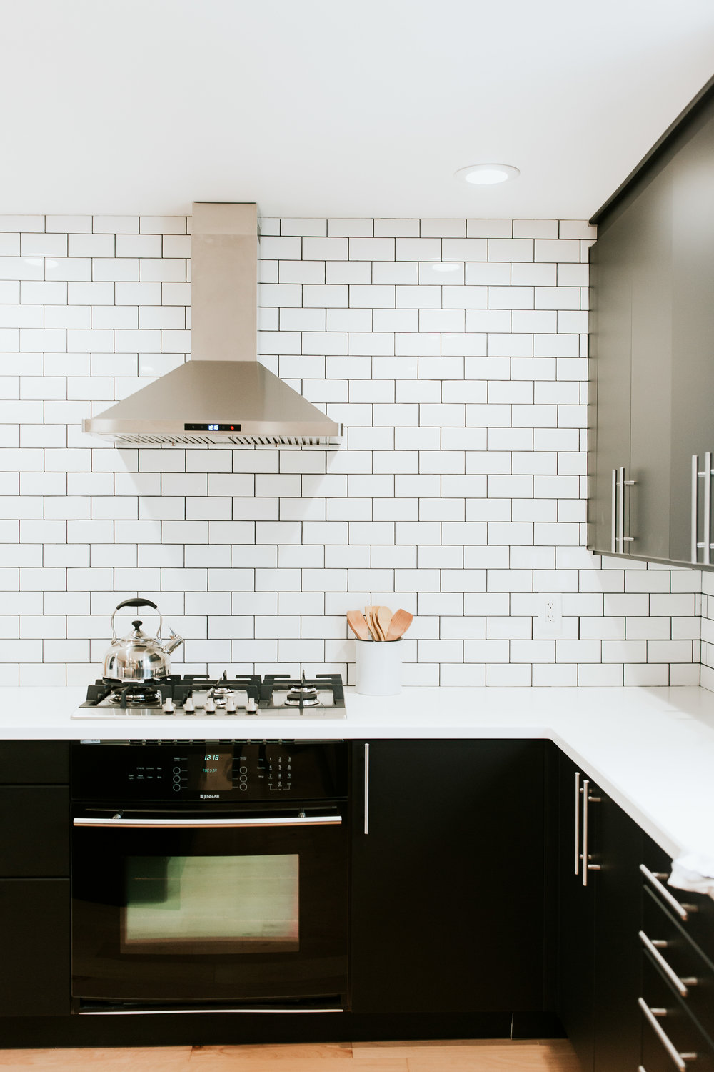 Full modern kitchen tour - Ikea Kungsbacka cabinets, subway tile, light wood floors, range hood