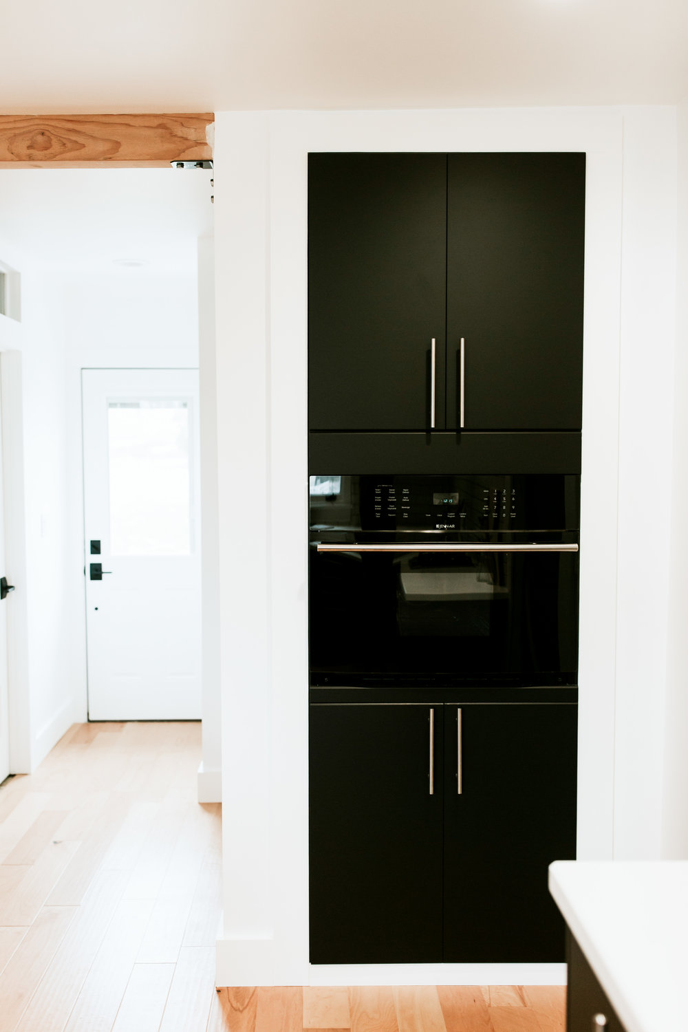 Full modern kitchen tour - Ikea Kungsbacka cabinets, built in pantry, modern black microwave in wall