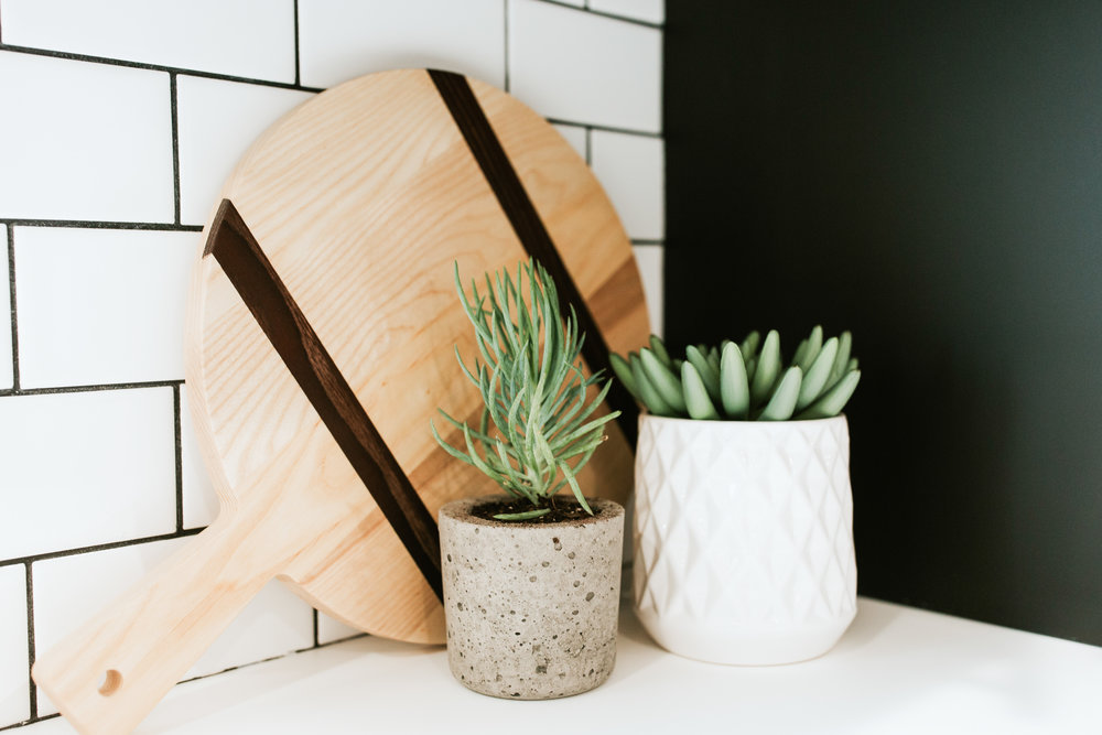 modern kitchen sources - Ikea kungsbacka cabinets, subway tile, modern decor, succulents, wood cutting board
