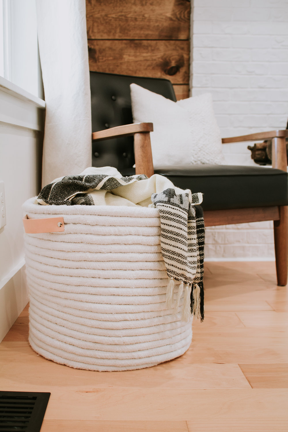 DIY No Sew Rope Basket - Easiest DIY project ever! - use as a throw blanket basket or storage tote - rope basket with leather handles