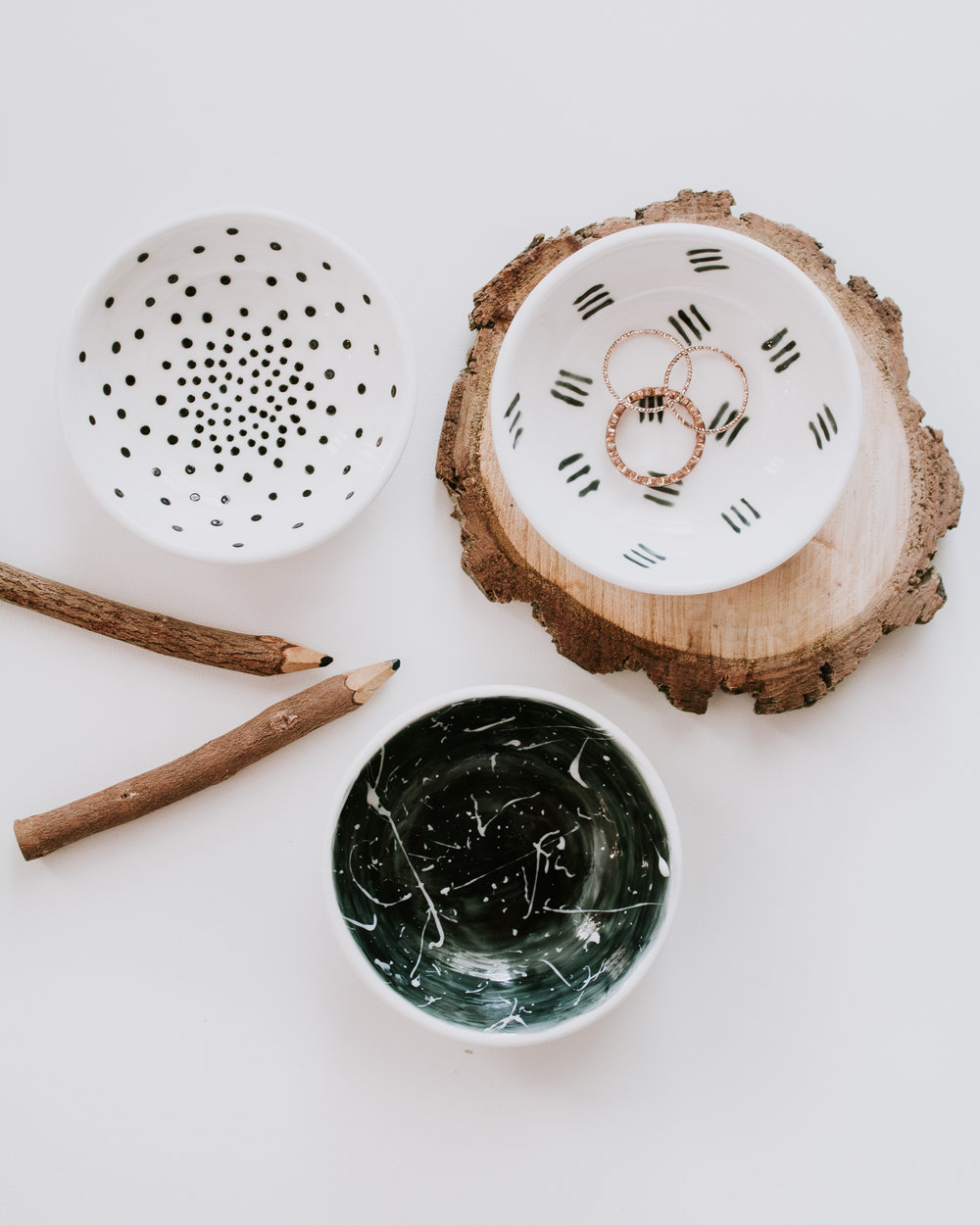 DIY painted jewelry dish - paint your own jewelry bowls with unique designs and patterns.