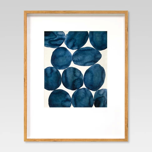 Blue dot artwork from Target - A how to guide for artwork placement - how high to hang art and how far apart. Interior Design art hanging rules.