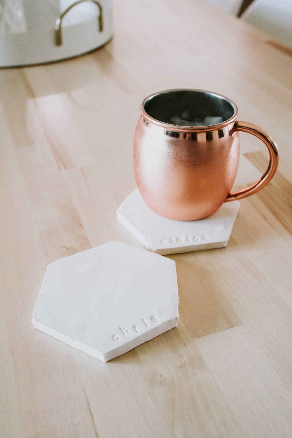 DIY Clay Coasters by Refined Design - personalized clay coasters you can make from home! Perfect craft project and gift idea for weddings, Christmas, and birthdays.
