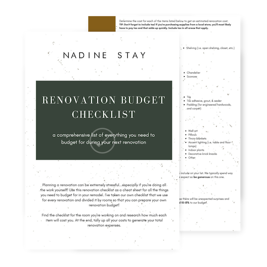 free renovation budget checklist - a comprehensive list of everything you need to budget for in your renovation - kitchen, bathroom, bedroom, living room, and dining room
