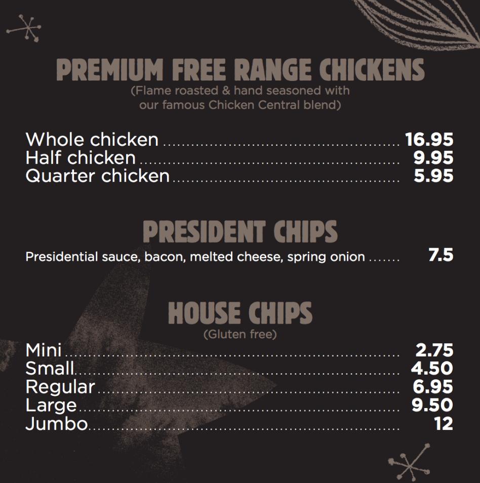 Chicken Central menu free range chickens chips Melbourne Rotisserie Chicken Family meals chicken and chips