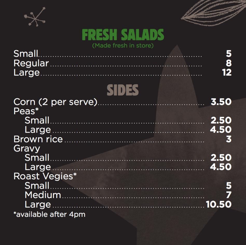 Chicken Central menu salads side dishes Melbourne