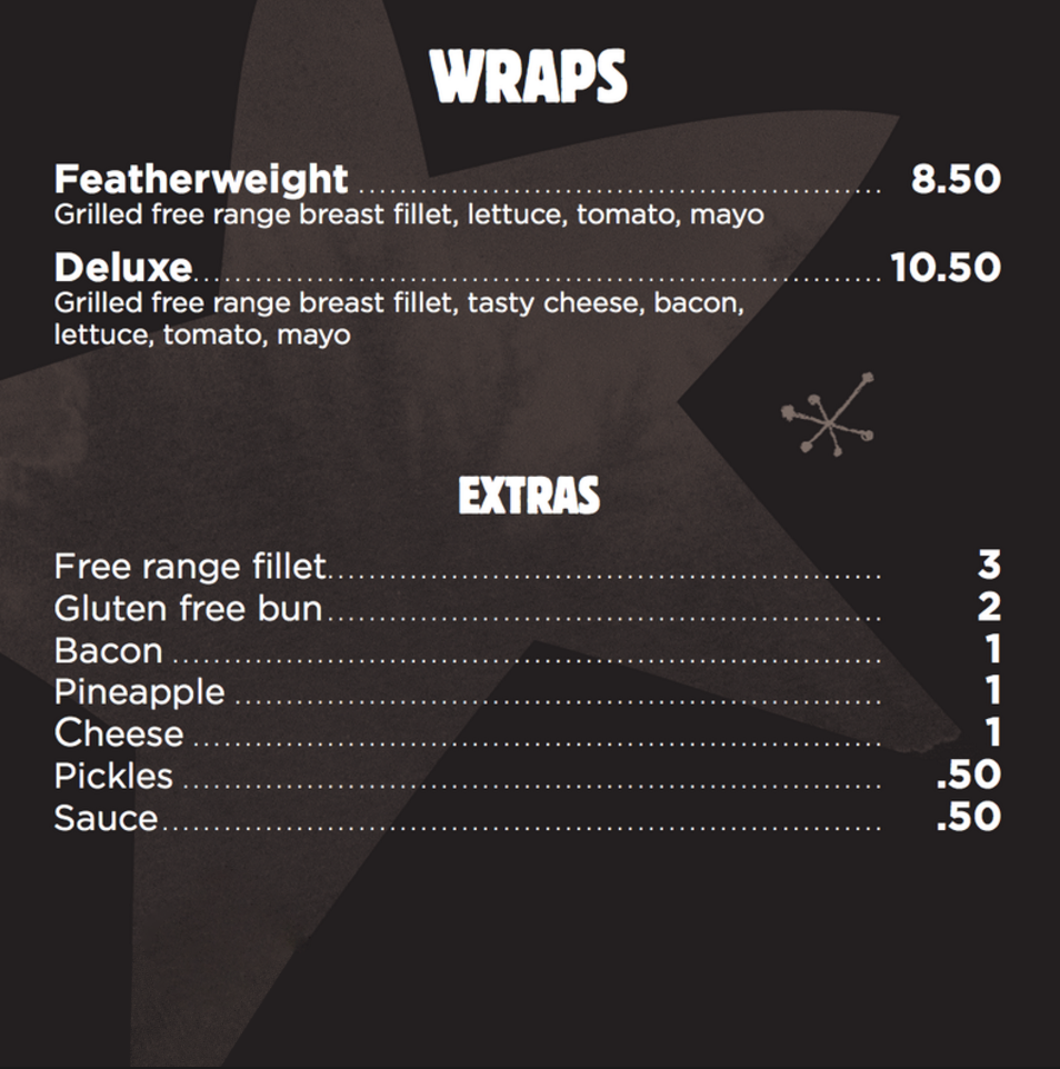 Chicken Central menu wraps Melbourne Healthy Eating Clean Eating