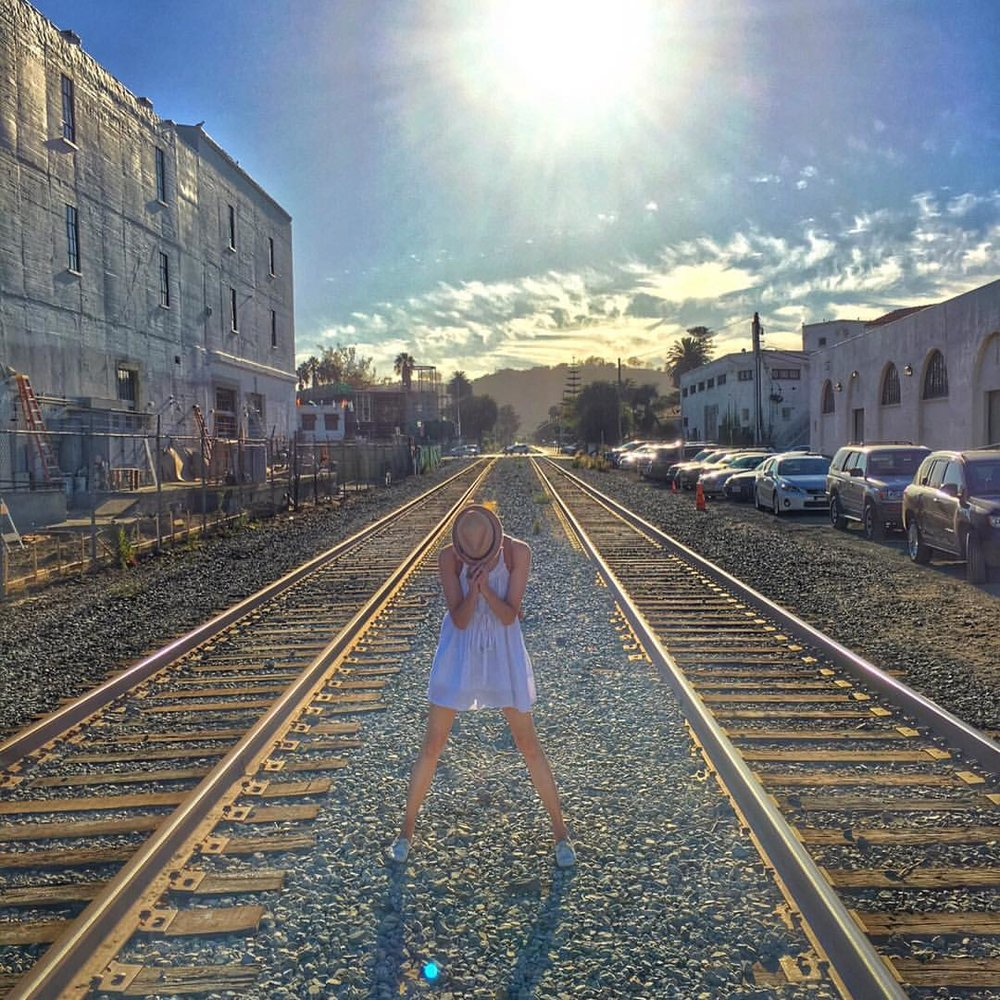 The #sun hits both sides of the #tracks who are to decide which side is 'wrong'. #modelsdo #explore #latergram #santabarbara #actress #model #wine