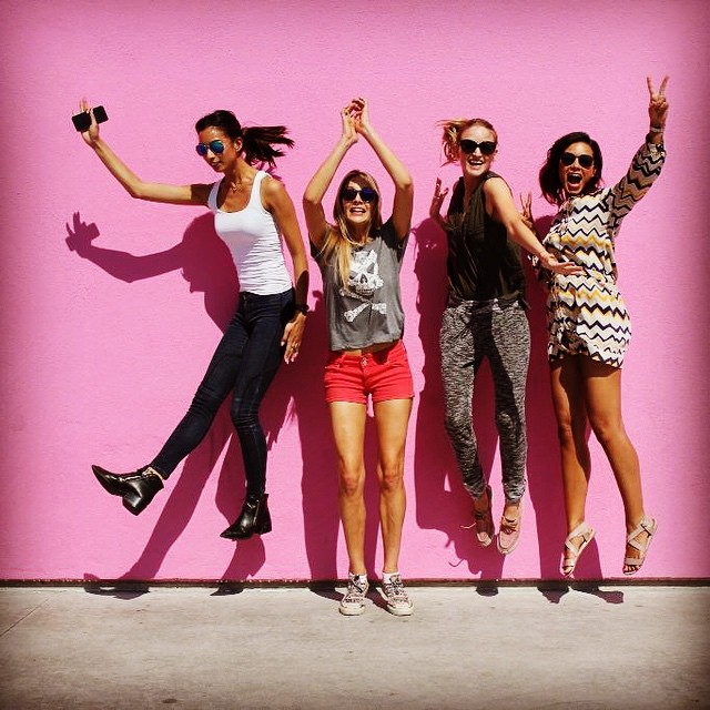 When one of you has to stay grounded …. #love these gals #prettyinpink #model #humpday