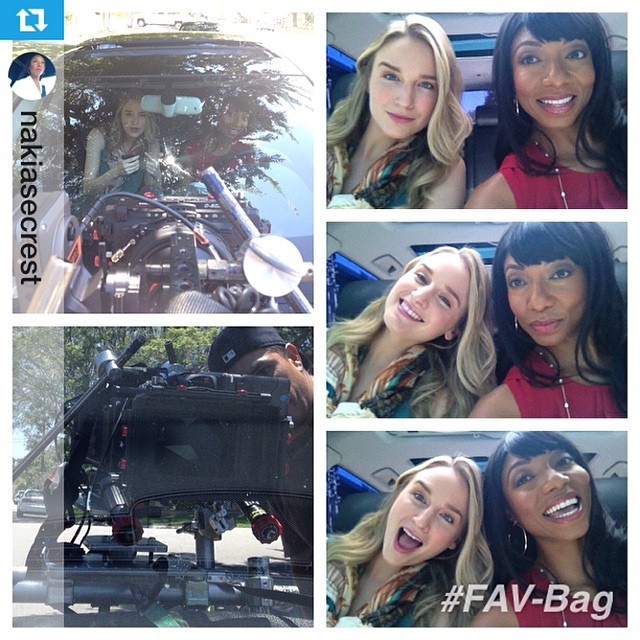 #Repost @nakiasecrest #Shooting #FAV-Bag with the fabulous @thebriannabarnes #setlife #actorslife yup driving and Audi too! #stickshift makes me a #badbitch so! You steal my stuff what do you expect!   Hahahah  #tile