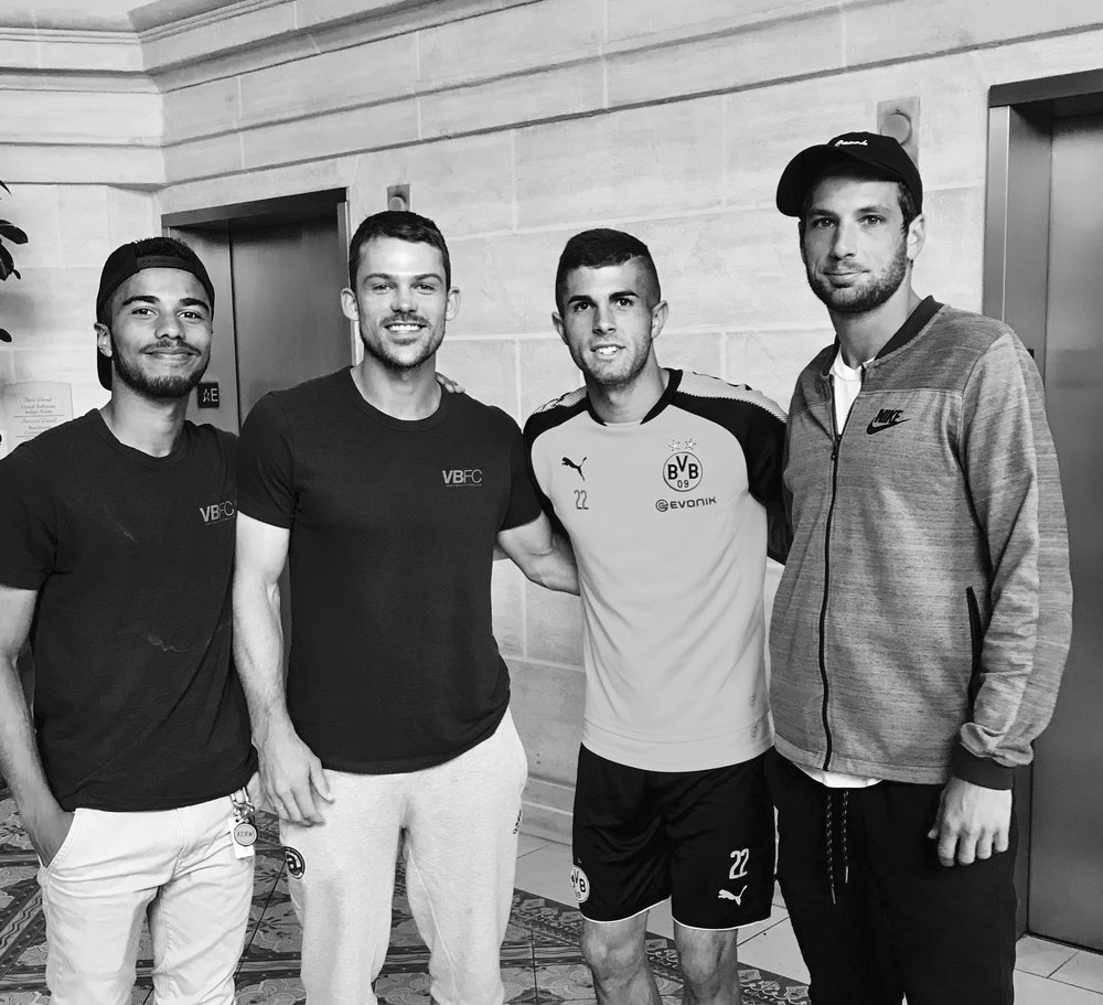 Squadra Venezia's Nick Santhiago, Dillon Chapman, & Tim Walsh with Christian Pulisic.