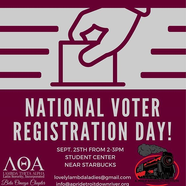 "Make sure you stop by and register to vote! If you're already registered come say, ""hi"" to us and the lovely ladies of @lta_betaomega !!"