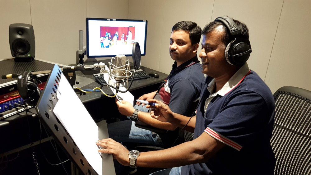 Voice over session with Senior Producer Anba.