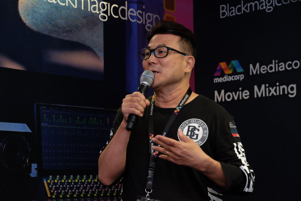 Local blockbuster movie director Jack Neo sharing his working experience with Mediacorp Audio Post.
