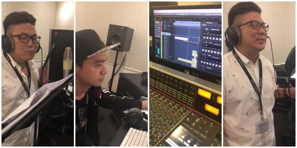 """Jack Neo recording theme song of """"Wonderful! Liang Xi Mei"""" at Mediacorp Audio Post with sound designer Matthew Teng."""