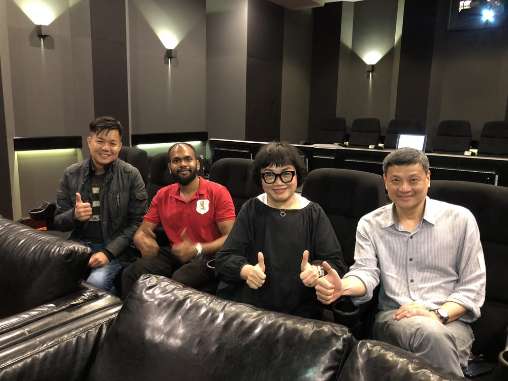 From left: Sound Designer Yong Chin Liang, Naveen Chander, Music & Sound Effect Director Mo Ju Li and AVP Tan Chee Beng.