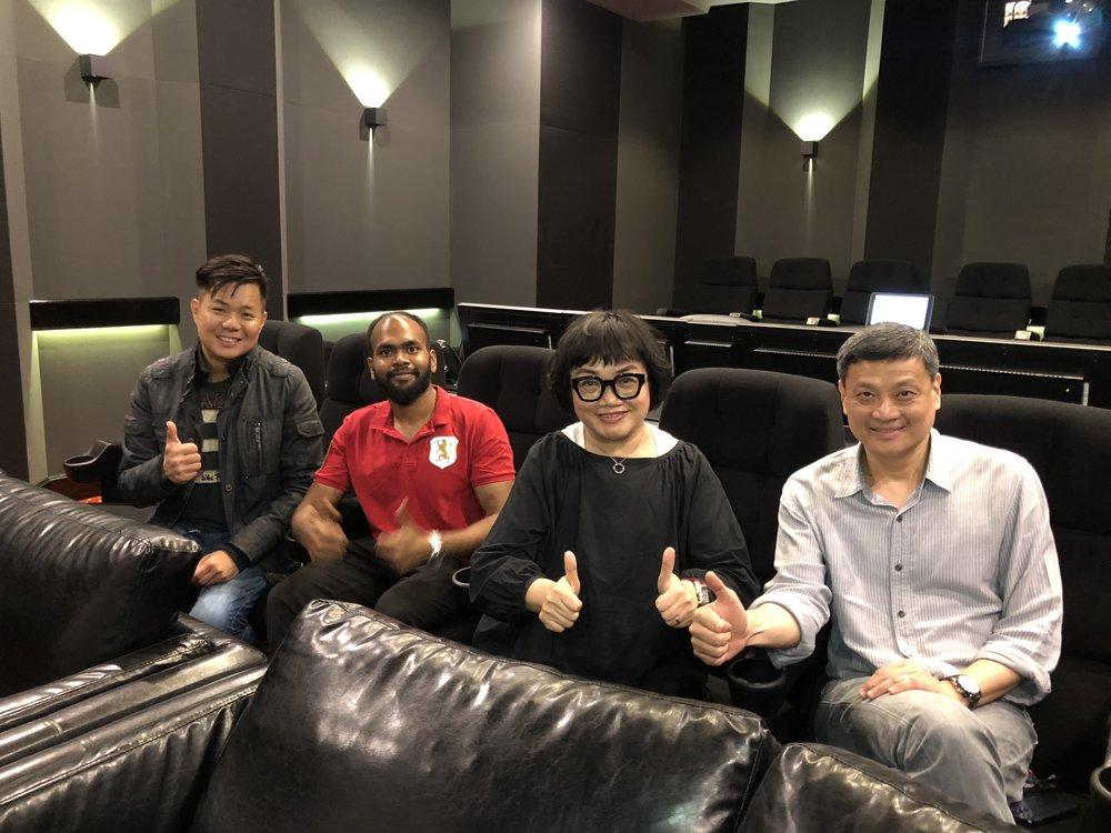 From left: Sound Designer Yong Chin Liang, Naveen Chander, Music & Sound Effect Director Mo Ju Li and AVP Tan Chee Beng.