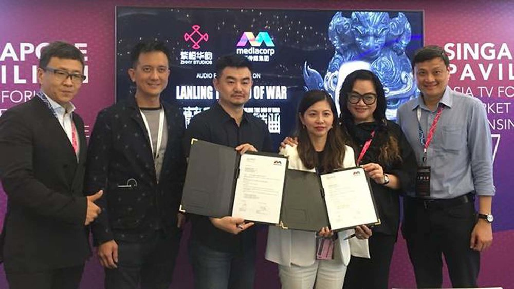 "From left: Jacky Huang, Barry See, Aero Chen Kai, Doreen Neo, Mo Ju Li and Tan Chee Beng at the signing ceremony of China 3D animation project ""Lanling Wang, The God of War""."