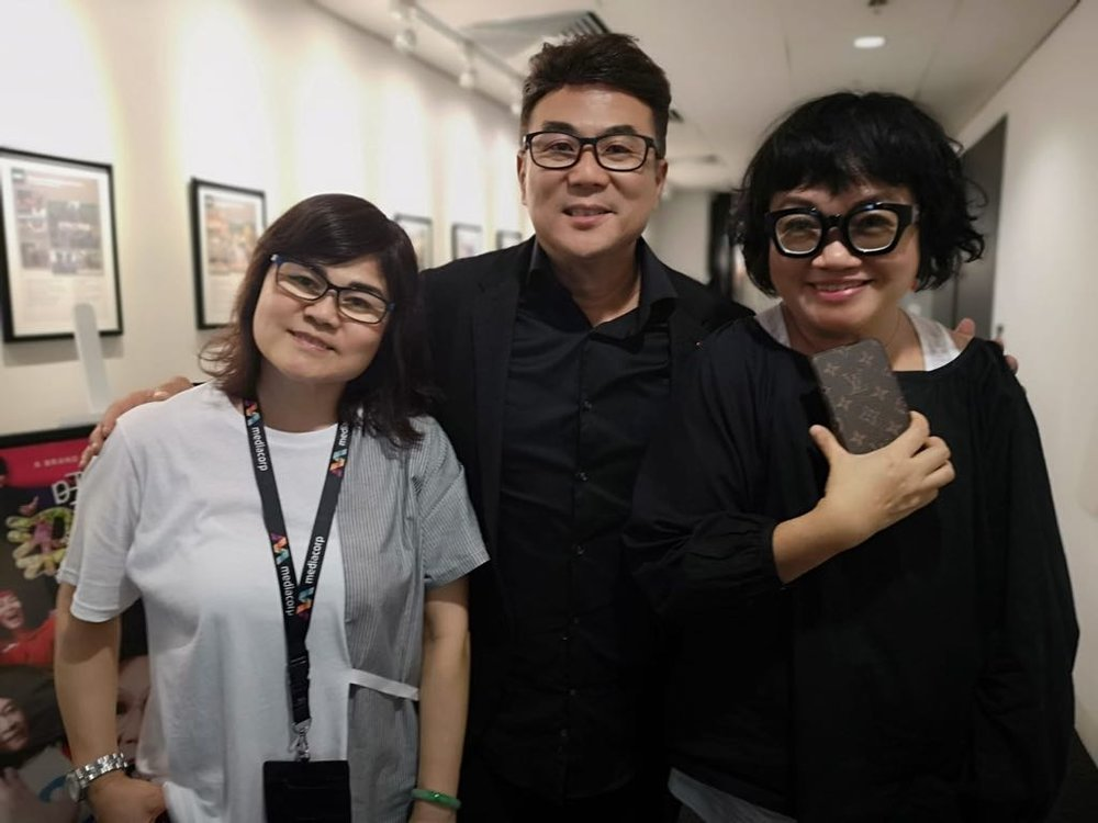 From left : EP Winnie Wong, Jack Neo and Music & Sound Effect Director Mo Ju Li.