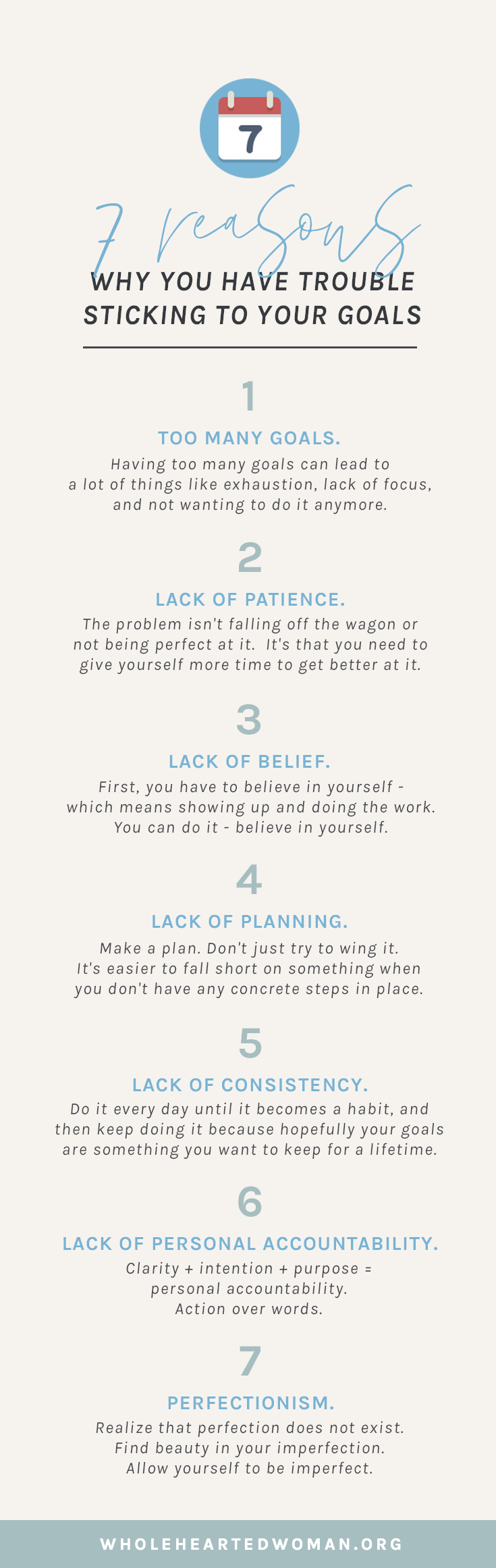 7 Reasons Why You Have Trouble Sticking To Your Goals | How To Stick To Your Goals | Goal Setting and SMART Goals | How To Be More Productive | Life Advice For Millennials | Self-Awareness | Personal Growth & Development | Mindfulness | Mindset | Wholehearted Woman | #selfdiscovery | #personalgrowth | #selfhelp | #selfawareness | #gratitude | #selflove | #goals | #goalsetting | #productivity