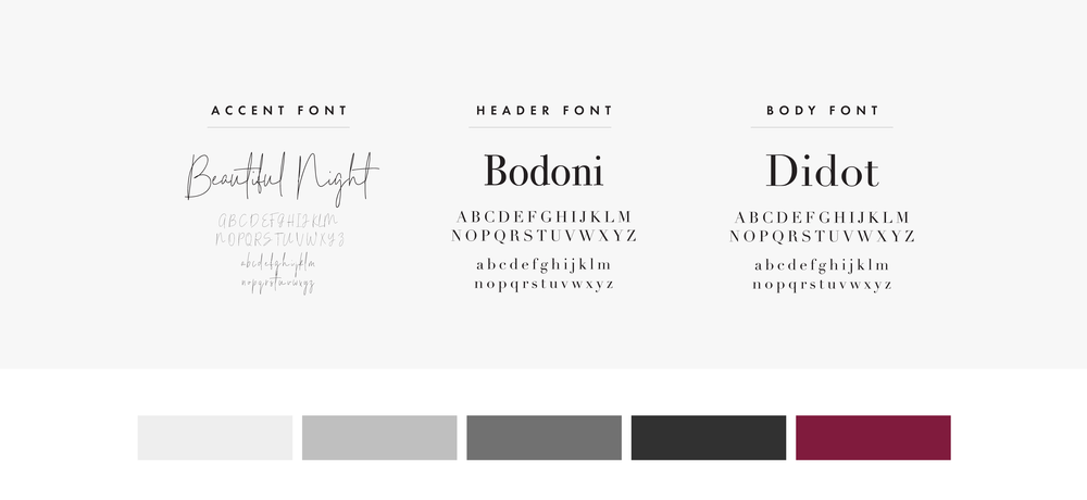 Font & Color Palette for Amy Paine and Just Me Experience